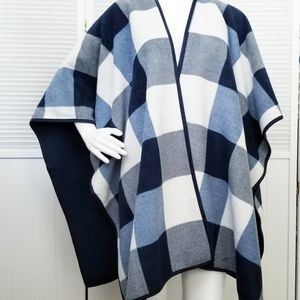 Woolrich Navy and White Reversible Wrap Cape